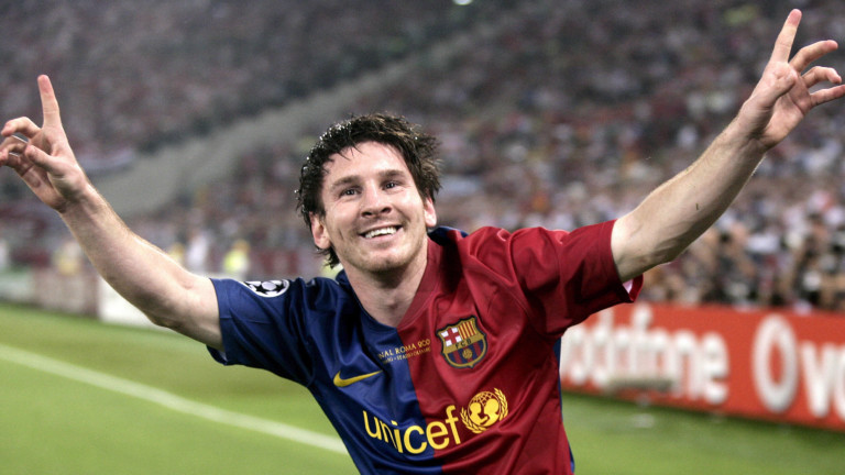 Barca-Star Lionel Messi jubelt am 27.05.2009 im Champions-League-Finale gegen Manchester United in Rom