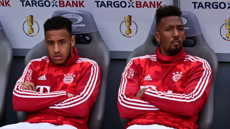 25.05.2019, Berlin: Fu§ball DFB-Pokal Finale RB Leipzig - FC Bayern MŸnchen am 25.05.2019 im Olympiastadion in BerlinCorentin Tolisso ( MŸnchen ), links - Jerome Boateng ( MŸnchen ), rechts DFB regulations prohibit any use of photographs as image sequences and/or quasi-video. Foto: Revierfoto Foto: Revierfoto/Revierfoto/dpa | Verwendung weltweit (Foto: picture alliance/dpa)