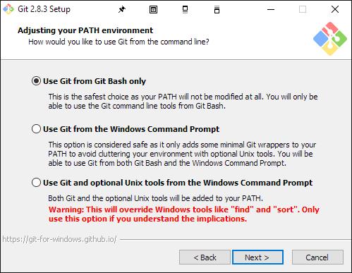 Screenshot #2: Choosing how to use Git for Windows