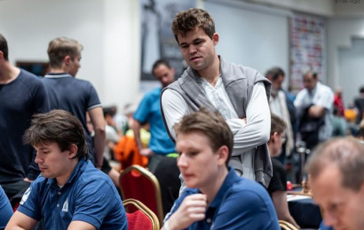 Carlsen in action at the European Club Cup