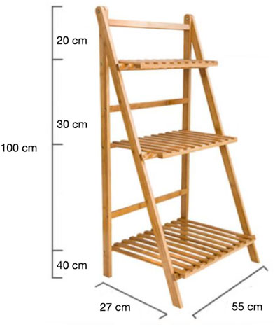 Folding 3-Tier Bamboo Rack