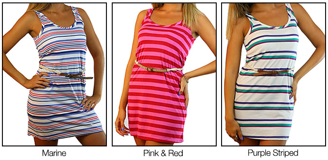 Bond Miss Bond Casual Striped Rope Belt Dress