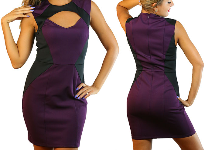 Cut Out Code 101 Purple Dress