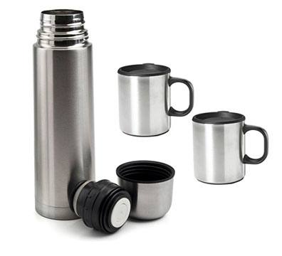Steel Thermos & Cups Set