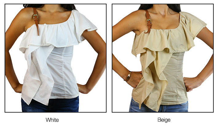 Belt Strap Ruffle Top