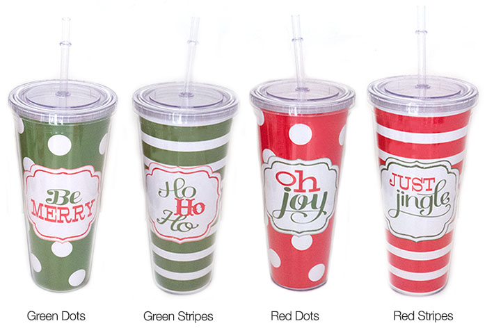 Large Christmas Cup with Straw