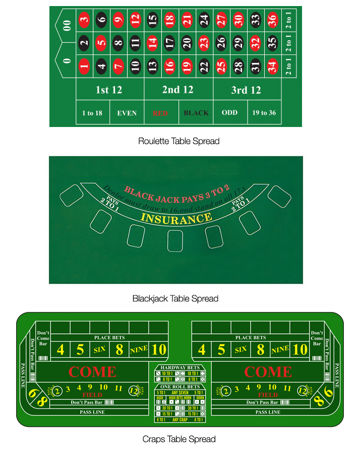 Roulette / Blackjack / Craps Table Spread