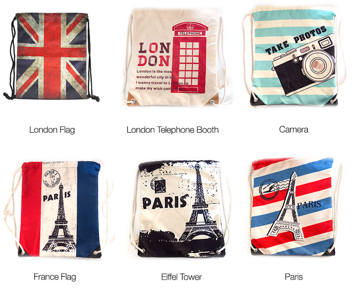 London /Paris Drawstring Bags
