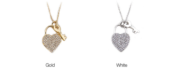 Gold-Plated Swarovski Heart with Key Necklace
