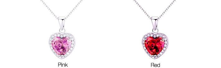 Crystal Heart with Zirconia Stones Necklace