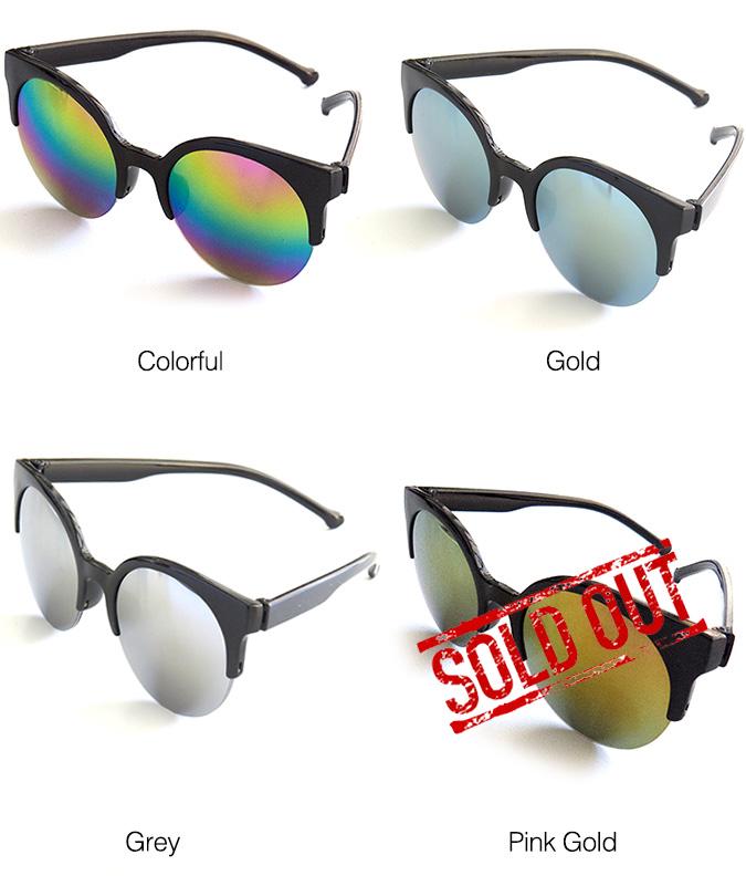 Stylish Semi Rimless Mirror Sunglasses