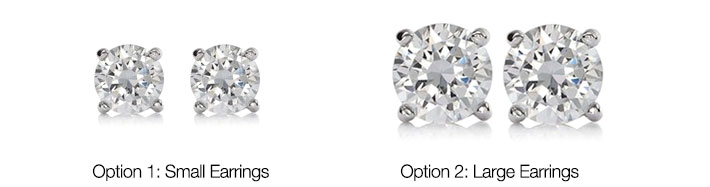 White Gold-Plated Round Zirconia Stone Stud Earrings