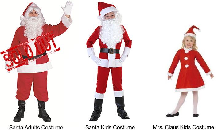 Velour Santa / Mrs. Claus Kids & Adults Costumes