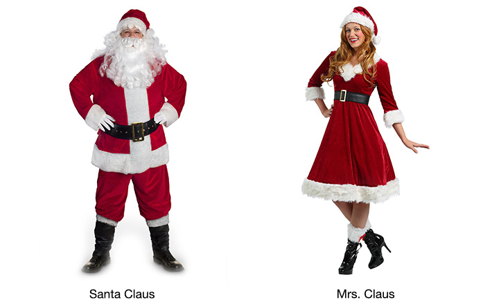 High Quality Velour Santa / Mrs. Claus Adult Costumes