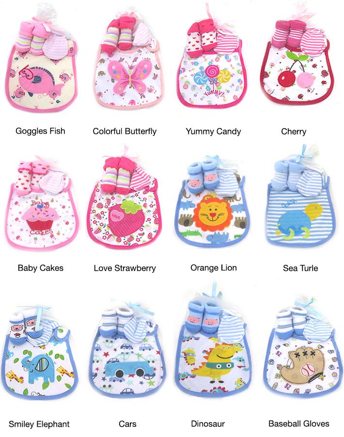 Baby Bib with Socks & Mittens Set