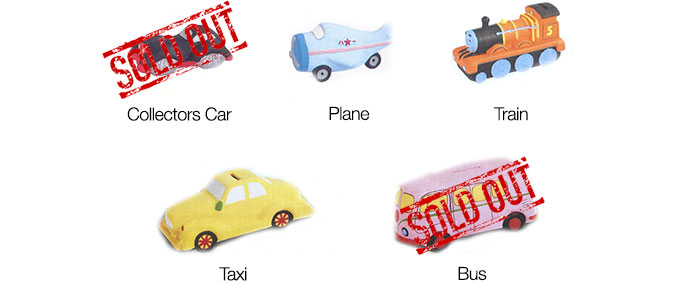 Vehicles Ceramic Paint Your Own Money Bank