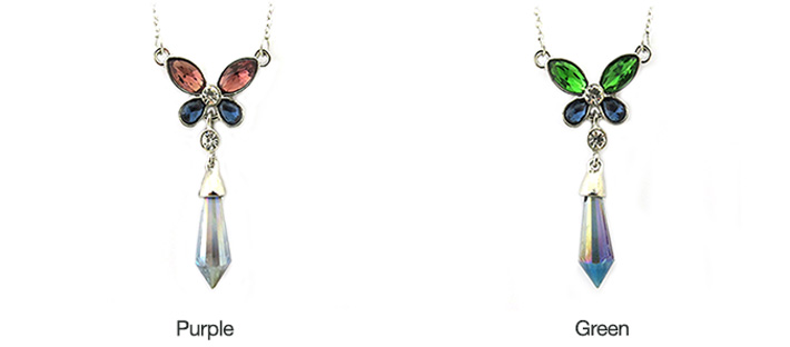 Butterfly with Dangling Crystal Necklace