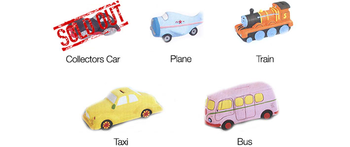Vehicles Ceramic Paint Your Own Money Bank