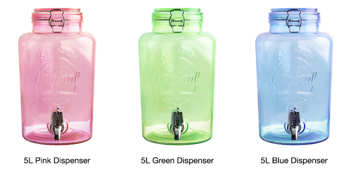 5L Kilner Clip Top Colored Dispensers