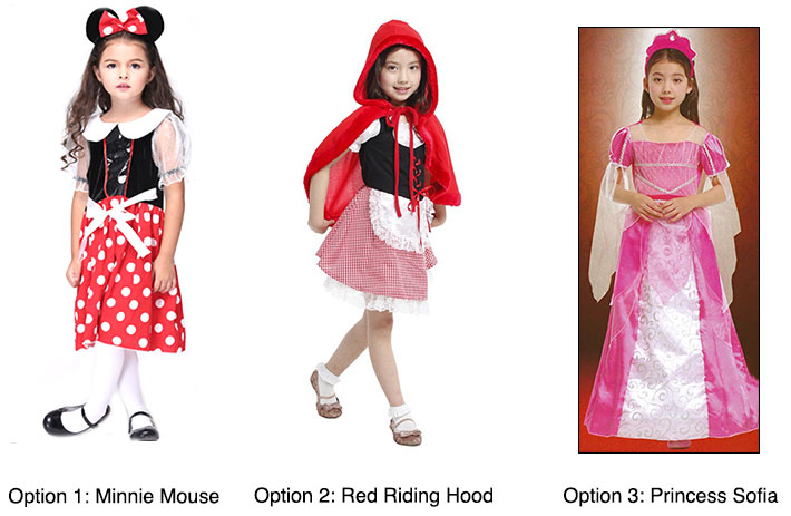 Minnie Mouse Red Riding Hood Princess Sofia Girl Costumes