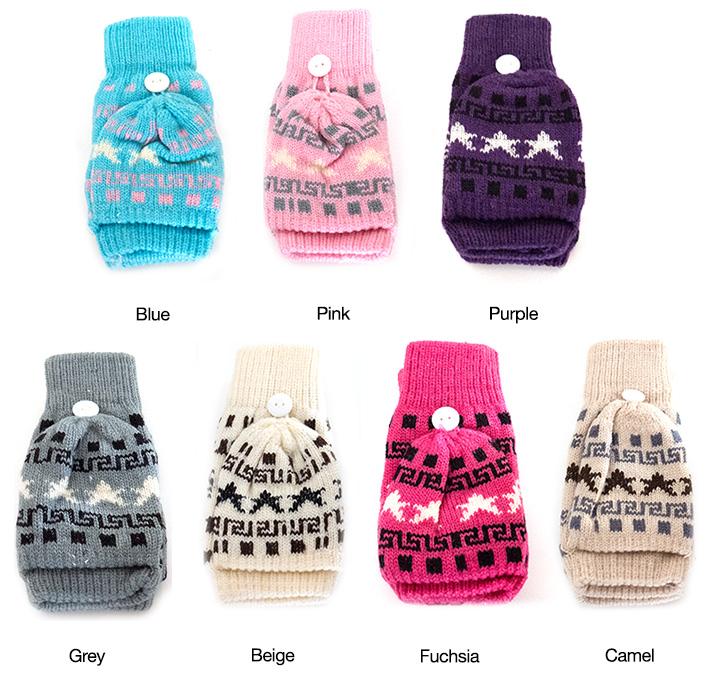 Fingerless Kids Gloves with Mitten Cap