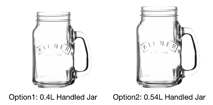 Clear handled jars