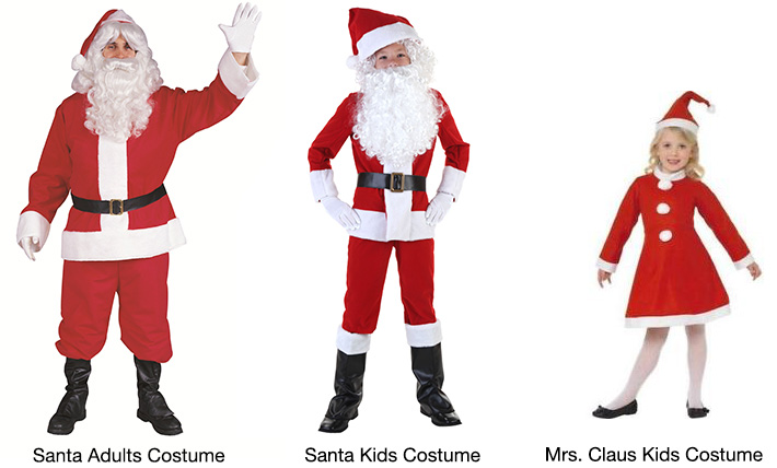 Velour Santa / Mrs. Claus Kids & Adults Costumes