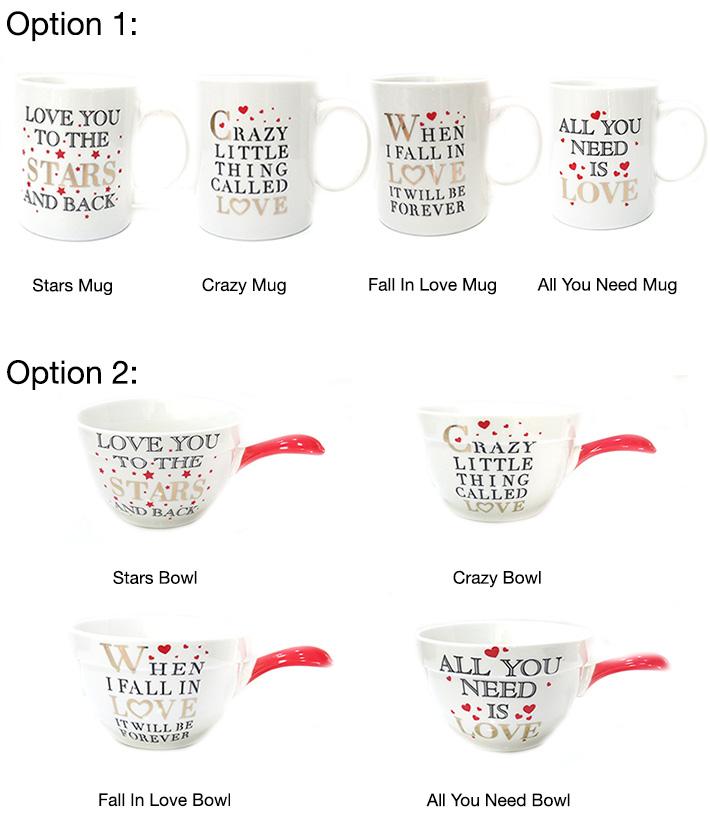 Valentine's Ceramic Bowls & Mugs