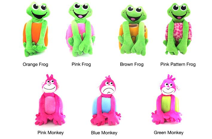 Monkey & Frog Plush Mini Blankets
