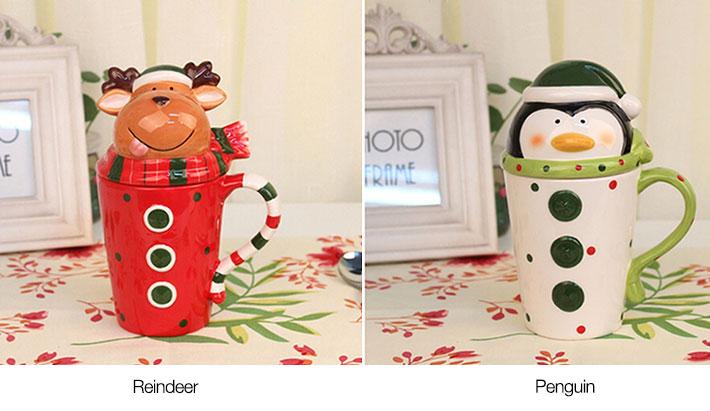 Ceramic Christmas Mugs with Lid