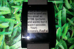 PayPal email on a Pebble smart watch