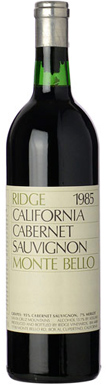 Ridge Vineyards, Santa Cruz Mountains, Monte Bello, 1985