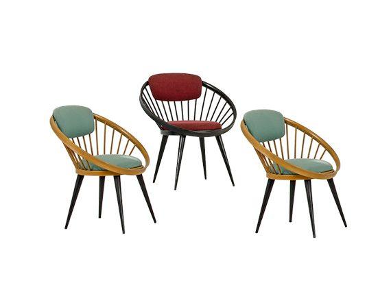 Set 3 Round Lounge Chairs, Yngve Ekstrom