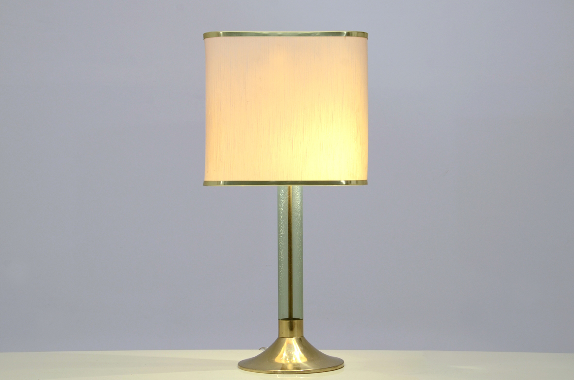 Table brass lamp with lucite stem - Deesup