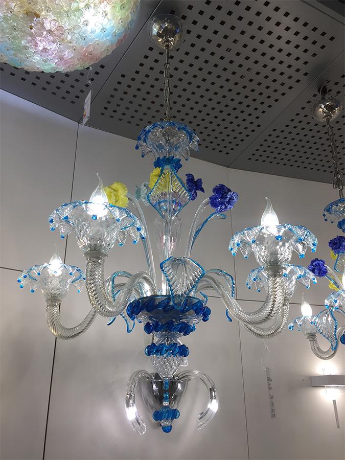 Blue glass chandelier (5 lights), Sforzin - Deesup