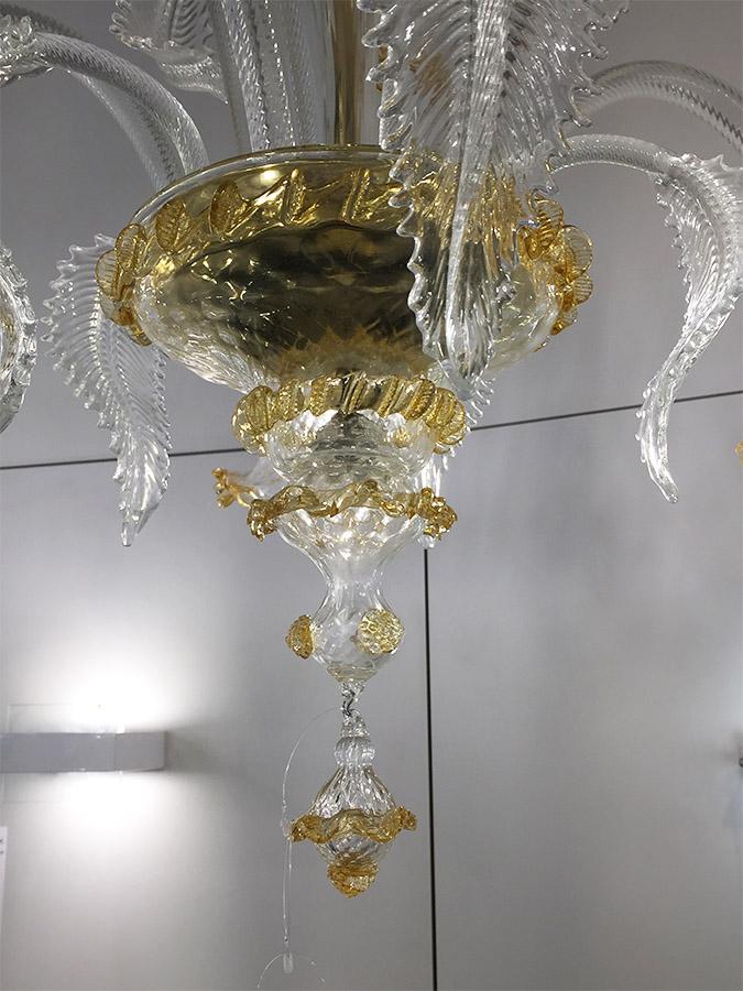 Lampadario in vetro oro (5 luci), Masi - Deesup