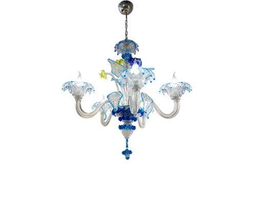 Lampadario in vetro blu (5 luci), Sforzin - Deesup