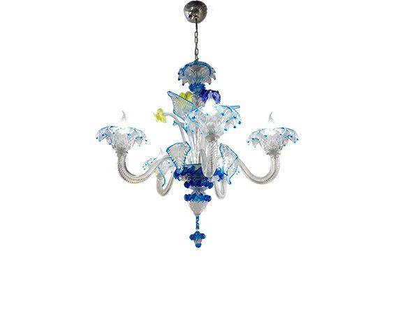 Blue glass chandelier (5 lights), Sforzin