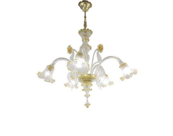 Lampadario in vetro oro (5 luci), Masi