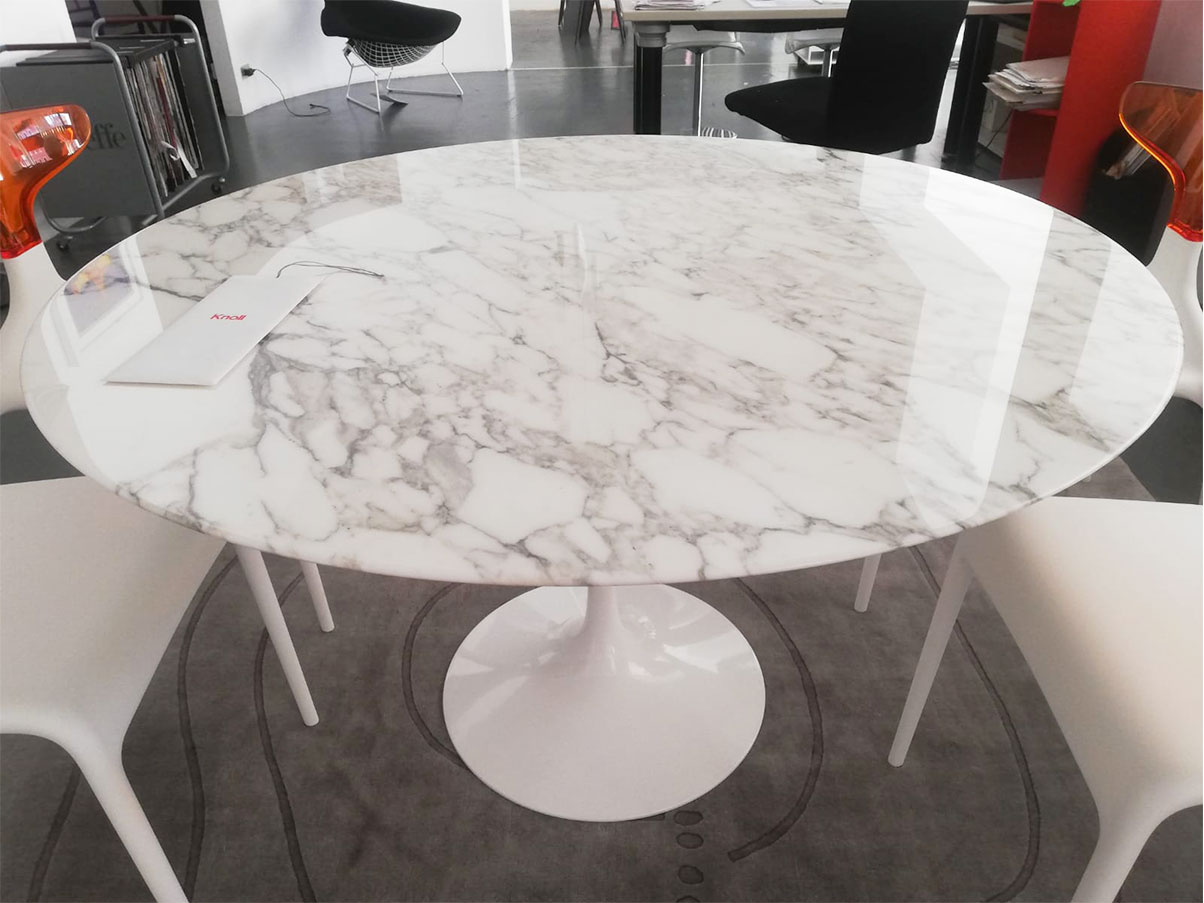 Round Table Tulip Eero Saarinen White Marble Knoll Deesup