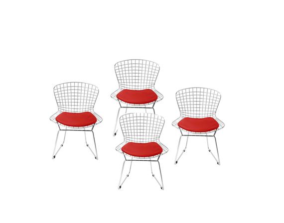 Set 4 sedie Harry Bertoia (acciaio con cuscino rosso ...
