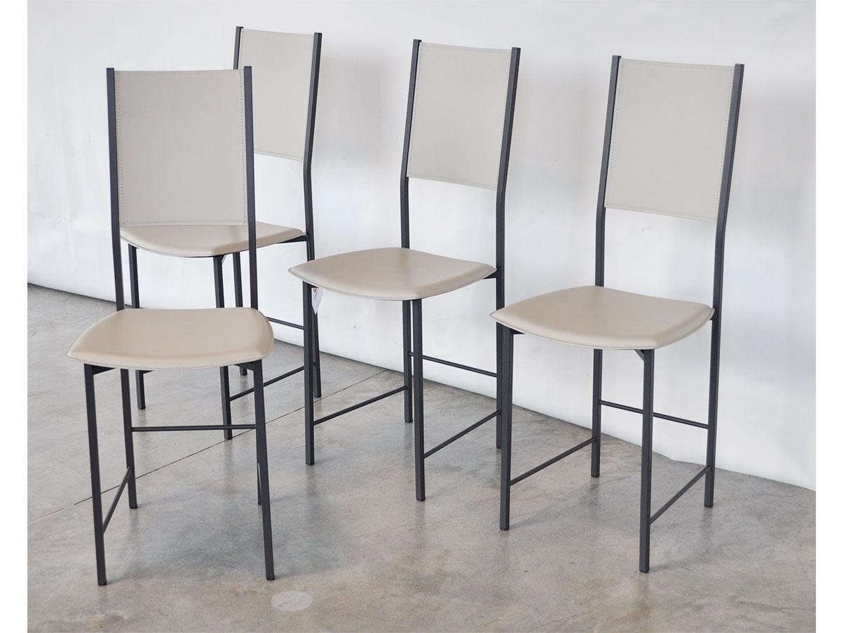 Set 4 sedie Alessia (rivestimento in cuoio), Cattelan ...