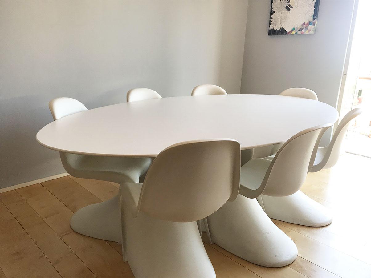 Tavolo Iconico Tulip Piano Ovale In Laminato Bianco Knoll Deesup