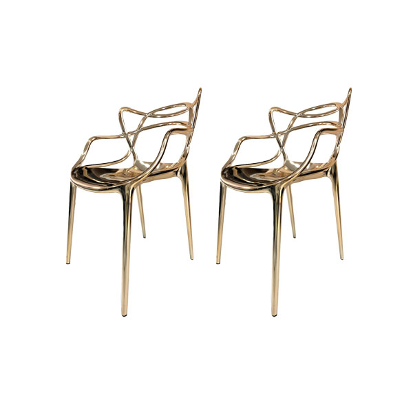 Set 2 Sedie Masters Di Philippe Starck Oro Kartell Deesup