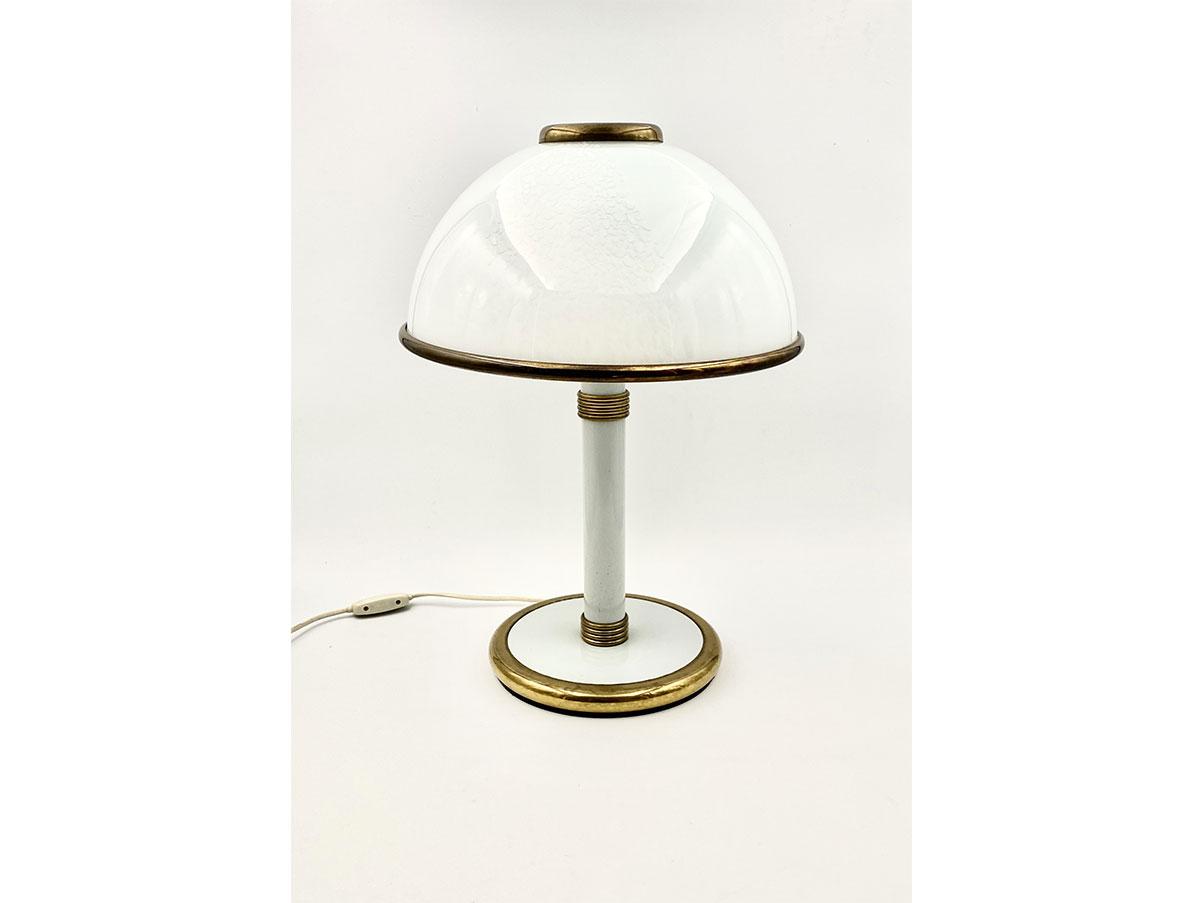 Lampada Da Tavolo Vintage In Vetro Murano Bianco Fabbian Deesup