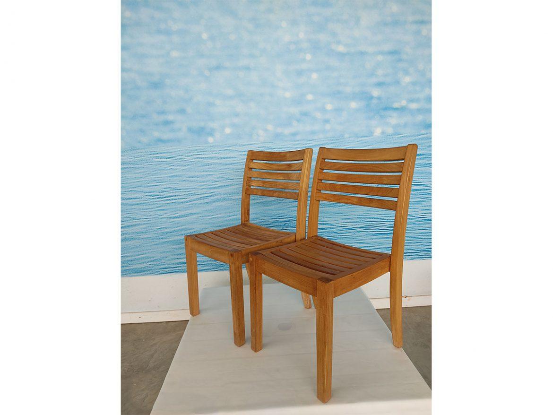 Set 2 sedie impilabili Chelsea in legno teak, Unopiù - Deesup