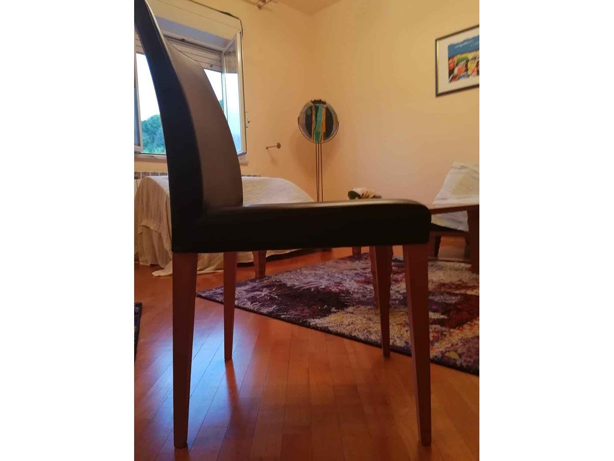 Set 4 sedie Liz legno ciliegio e pelle (nero), Poltrona ...