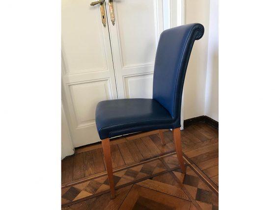 Set 4 sedie Vittoria in legno e pelle (blu), Poltrona Frau ...