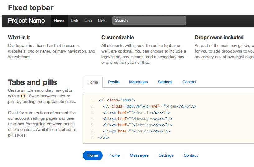 Screenshot of Twitter Bootstrap