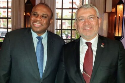 Afreximbank President Prof. Benedict Oramah (left) with Adnan Yıldırım, CEO, Turk Eximbank, during their meeting in Marrakesh.